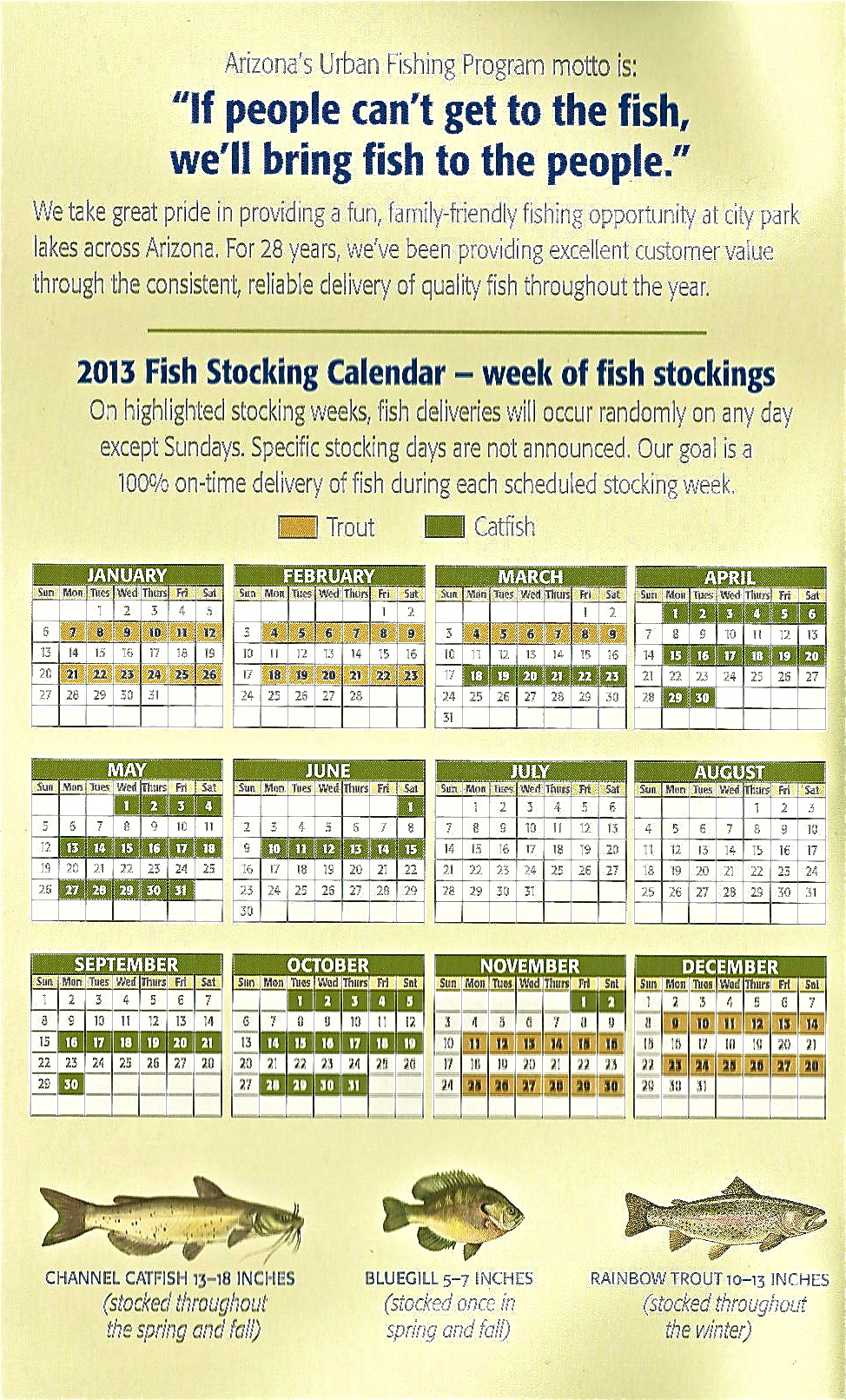Az game and fish stocking schedule for Az game fish