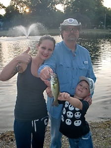 Our daughter and grandson caught their first bass together.